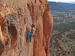 Rock Climbing Photo: Emily Reinsel on the awesome 3rd pitch traverse.