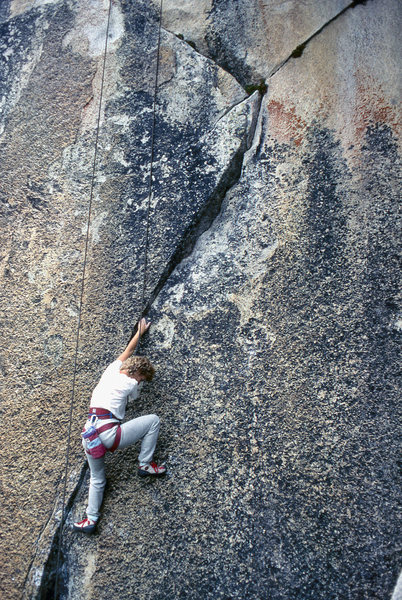 "Becky Franosch top-ropes ""Body-Double"" (5.12a) to the right of the Ivory Tower Center route."