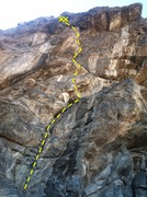 The general line of the route. Easy moves down low give rise to an interesting crux near the top.