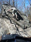 Rock Climbing Photo: James climbing the slab.  Photo by Kris Kearney.