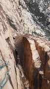 Rock Climbing Photo: Looking down pitch 5, showing the chimney and thin...