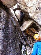 Rock Climbing Photo: Out of the cave on P8