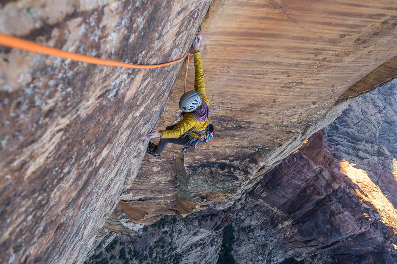 Rock Climbing Photo: Whitney Clark tip-toeing up the crux pitch of the ...