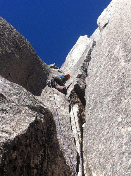 Rock Climbing Photo: last pitch of Send it Like Santa (5.10+)
