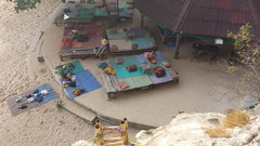 Rock Climbing Photo: Looking down at the bar from on top the first ladd...