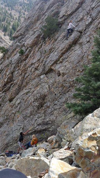 Nicole making the climb look very good. Just over the half way mark, up the route. Great Climb and Great Area.