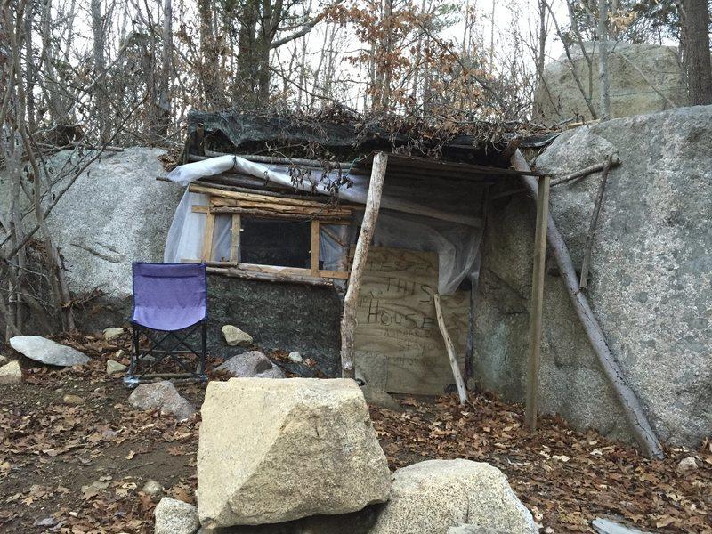 Creepy/cool, hidden hobo house.