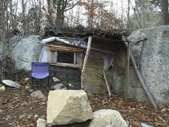 Rock Climbing Photo: Creepy/cool, hidden hobo house.