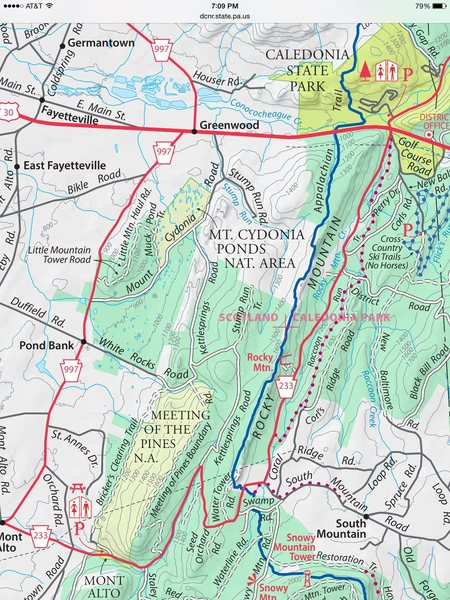Pond Bank is on White Rocks Rd <br> Michaux SF map
