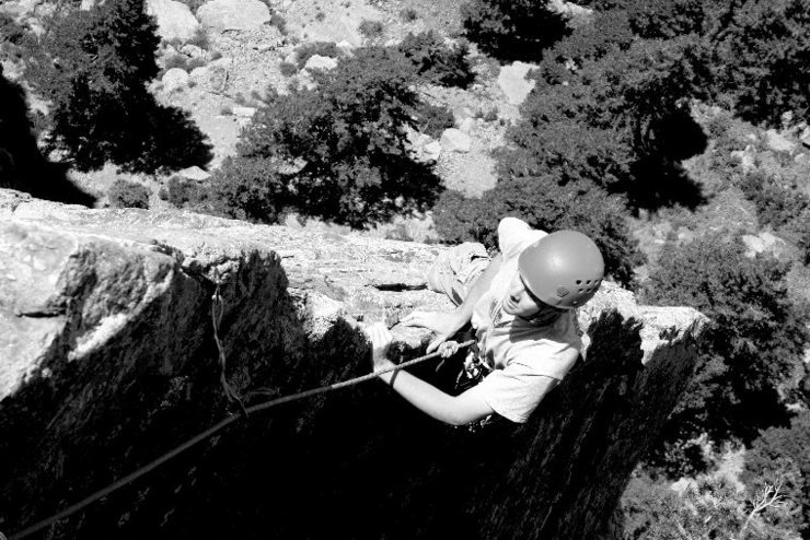 P5 arête on Rewritten. Best climb of its grade in the canyon.