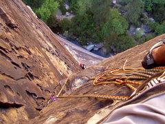 Rock Climbing Photo: P3 Belay on Dark Shadows