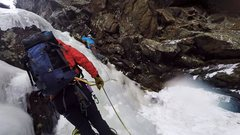 Rock Climbing Photo: Mike starting pitch 2, taken from a good belay sta...