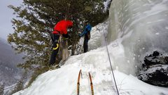 Rock Climbing Photo: Arriving at the belay atop pitch 2. Directional sc...