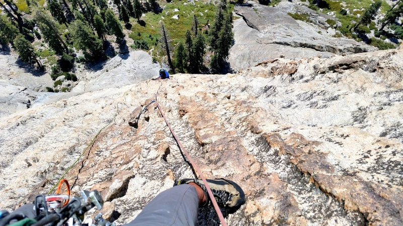 Rock Climbing Photo: looking down the 3rd pitch