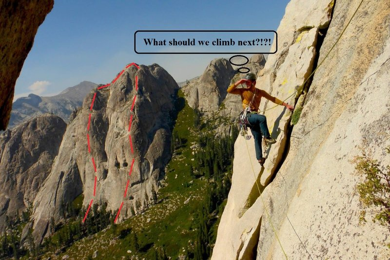 Rock Climbing Photo: Brian and the two lines we climbed on the South Fa...