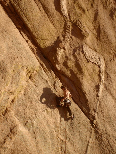 Had to pull a couple aid moves to make it up sheep thrills 5.12a at the Stronghold