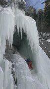 Rock Climbing Photo: Climbing through the hole, 1/28/16.