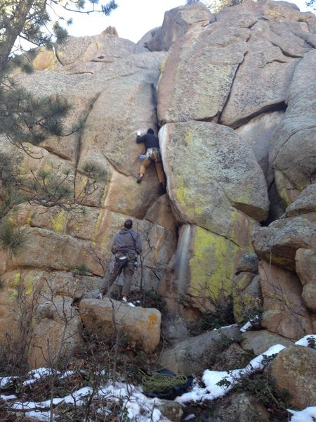 In the crux moves.