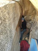 Rock Climbing Photo: Jonah (with his left foot on the starting hold, as...