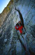 Rock Climbing Photo: The money pitch on Traveler Buttress. Photo by Eri...