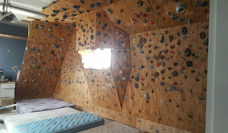 climbing gym in garage