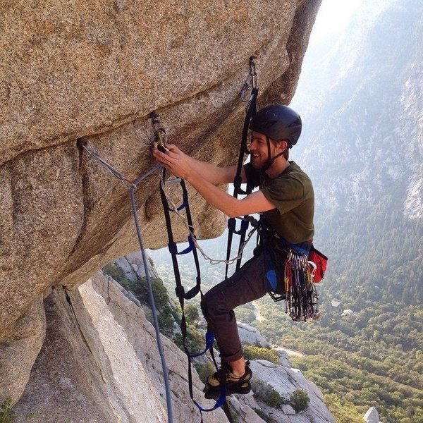 Rock Climbing Photo: aiding the coffin roof