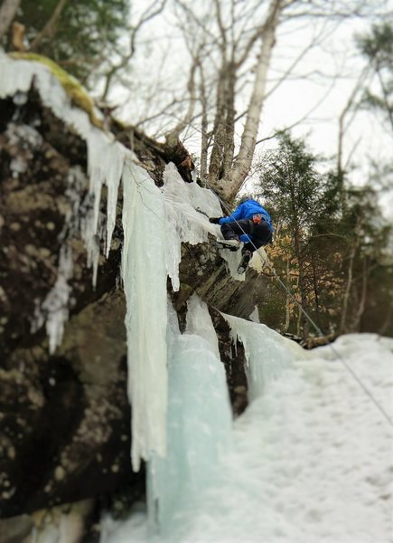 Kilarny slope (on the right side).Dylan Schultz climbing the small pillar on Kilarny that forms 3/4th of the way up, which allows you to access the smaller ice daggers, for some extra added difficulty.