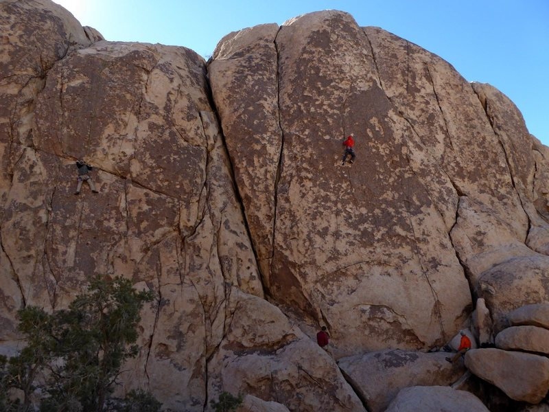 "Left climber is on ""Lewd and Lascivious Conduct"" 5.10c, right climber is on  ""Rock Candy"" 5.9"
