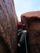 Rock Climbing Photo: Charlotte leading the crux of The Wallow (5.6-5.7)...