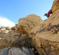 Rock Climbing Photo: Charlotte about to downclimb the crux section of t...