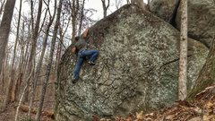 Rock Climbing Photo: Palming the top like my life depends on it