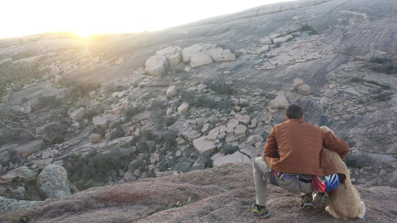 Rock Climbing Photo: Sunset at Enchanted Rock after a great day of clim...