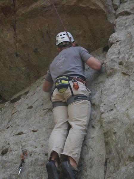 Rock Climbing Photo: Matthew McGreevy on slab under roof