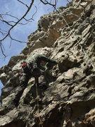 Rock Climbing Photo: Gary Patrick on face after third bolt.