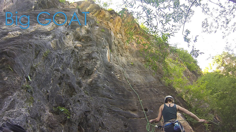 Rock Climbing Photo: On the FA of Big Goat.