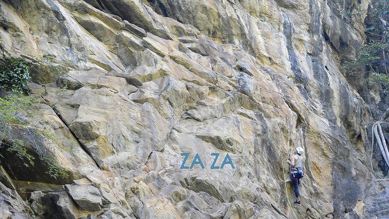 Katie on the first female ascent of Za Za