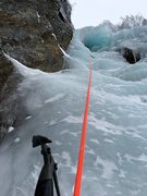 "Rock Climbing Photo: Looking up at the top pitch and the ""Parasol&..."