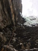 Rock Climbing Photo: Dylan Oliver styling the mixed pitch at high speed...