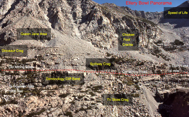 Telephoto showing the different crags along the Ellery Mining Road, including Dinosaur Crag.