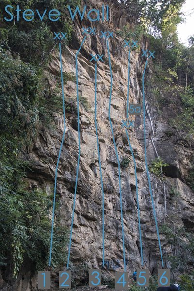 'Slab Python' is number 6 on the Steve Wall topo and the rightmost route on the wall.