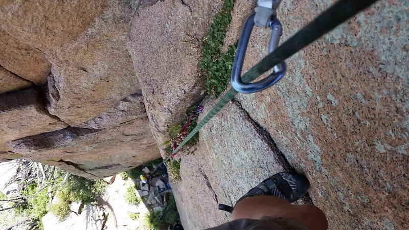 Looking down from just below the belay on the first pitch.