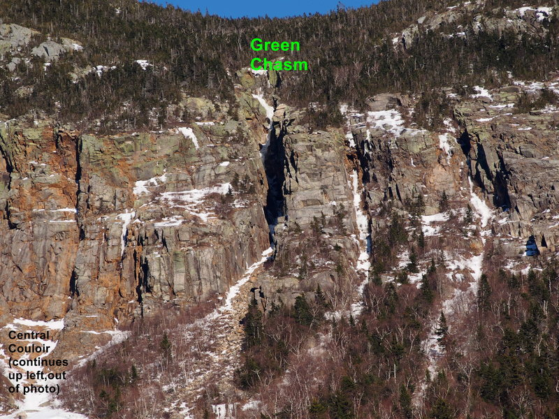 "Rock Climbing Photo: Green Chasm and the other two ""Chasms"" (..."