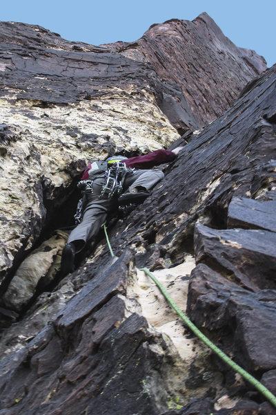 Rock Climbing Photo: Brett on Black Dagger. 11/24/15.