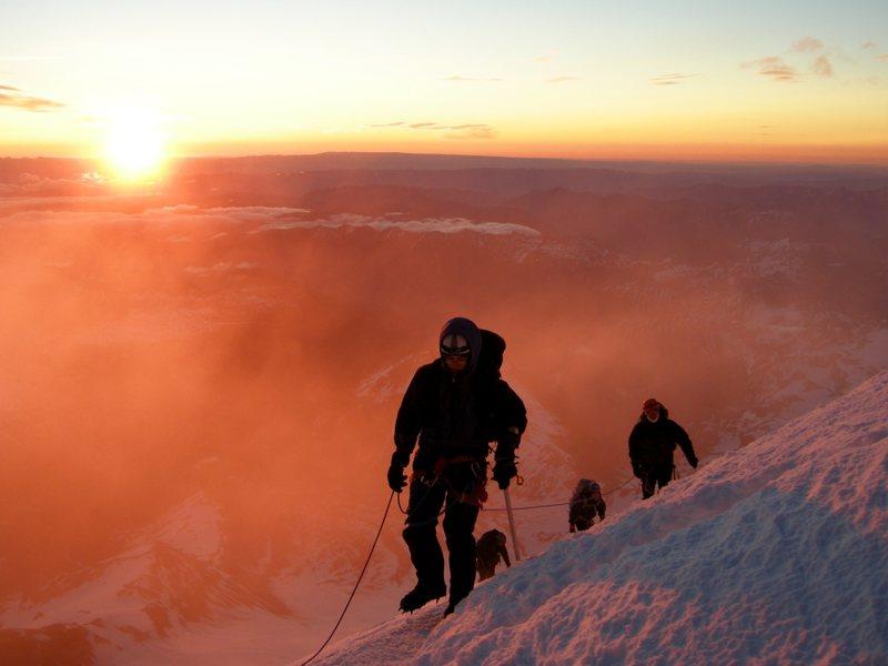 Sunrise on Mt. Rainier. Emmons Glacier.
