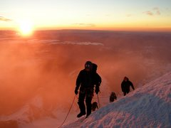 Rock Climbing Photo: Sunrise on Mt. Rainier. Emmons Glacier.
