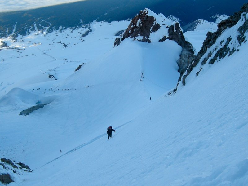 Rock Climbing Photo: Final headwall on the South Side Route of Mt. Hood...