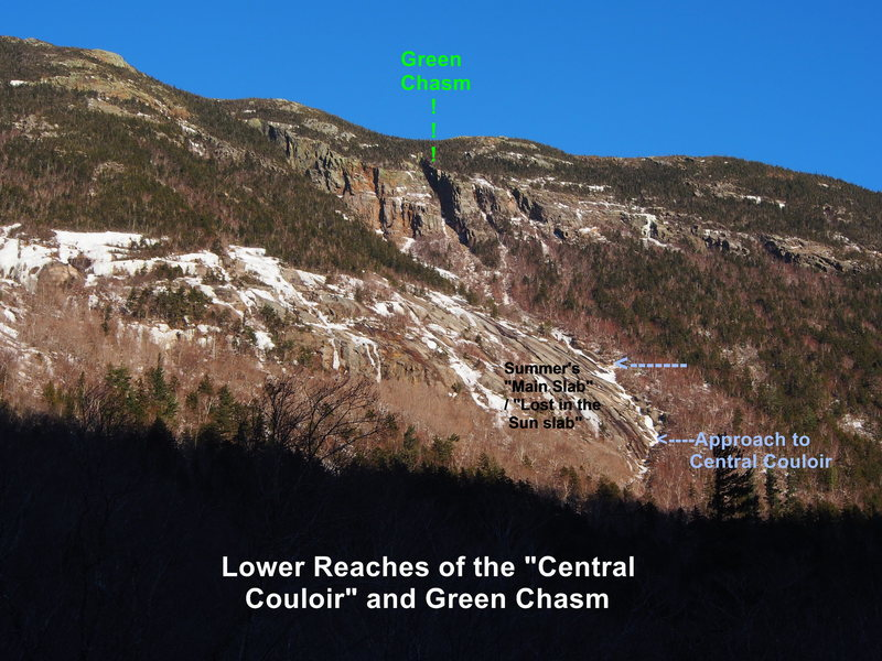 Lower approaches to Central Couloir, as viewed from near Willie Slide Parking