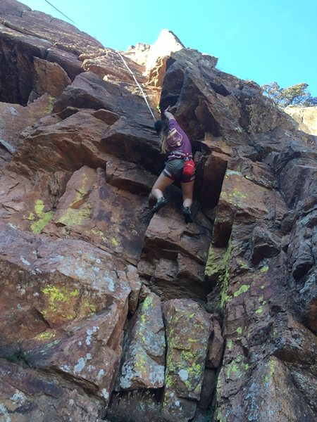 Rock Climbing Photo: Christian working her way up sundown dihedral
