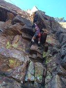 Rock Climbing Photo: Christian working her way up sundown dihedral
