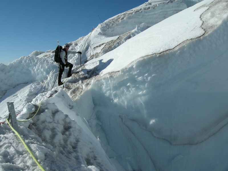 Route finding on the Ingraham Glacier.